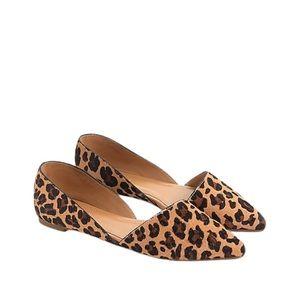 J. Crew Zoe Leopard Calf Hair d'Orsay Flats